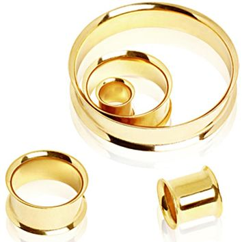 Gold Plated Flesh Tunnel Plug with Double Flares