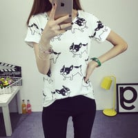 Summer 2016 cute dog printed fashion clothes T-shirts for women tee shirt femme camisetas poleras tshirt female t shirts tops