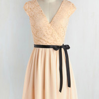 Pastel Mid-length Cap Sleeves A-line Champagne at Midnight Dress in Moonlight