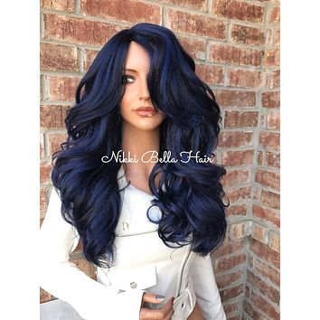 "Blue Thick Human Hair Blend Multi Parting 26"" Loose Curl Lace Front Wig"