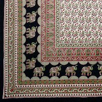 Handmade 100% Cotton Mandala Elephant Tapestry Tablecloth Coverlet Twin Reds