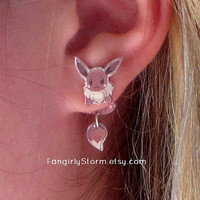Eevee Pokemon Clinging earrings  Geeky gamer kawaii two part front and back earrings