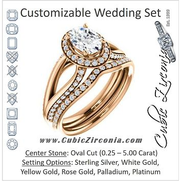 CZ Wedding Set, featuring The Gabrielle Mia engagement ring (Customizable Oval Cut Design with Halo & Accented Three-sided Wide Split Band)