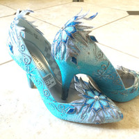 Cosplay Adult Elsa Shoe Inspired from Disney Frozen Movie w/ Hand Decorated Snowflakes in Heels or Flats