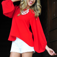 Stay With Me Blouse: Bright Red | Hope's