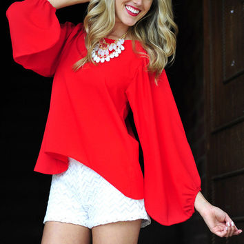 Stay With Me Blouse: Bright Red   Hope's