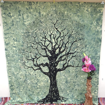 Green Tree of life tapestry wall hanging dorm decor beach blanket tapestries hippie tapestry boho tapestry mandala tapestry wall decor