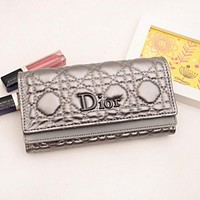 Dior LV Women Leather Multicolor Wallet Purse Champagne silver