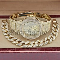 MEN 14K GOLD PT LUXURY BLING WATCH CUBAN BRACELET COMBO SET FM10G