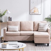 Bonnlo Convertible Sectional Sofa L Shaped Sectional Couch Small 3-Seater Sectional Sofas,Modern Living Room Sectional Sofa Couch with Reversible Chaise (Beige) Beige