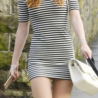 Striped Half Sleeve Mini Dress