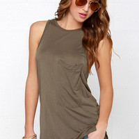 Tank on Me Olive Green Tank Top