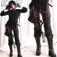 Unisex Industrial Gothic Punk Red Metal Rusty Gear Pants w/ Hip Wrap & Gloves