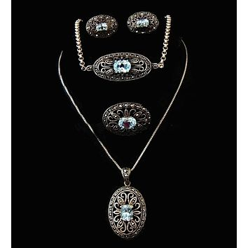 Blue Topaz Marcasite Jewelry Set Victorian Revival Sterling Silver