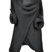 Cowl Neck Slit Pullover Sweater