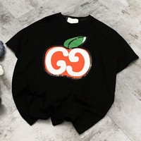 GUCCI New fashion sequin letter apple women top t-shirt Black