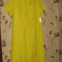 Vintage Circa 1960's Dress yellow rayon mod dress by Wilshire of Boston  new w tag  size 18