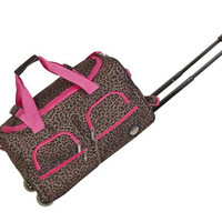 "PRD322-PINKLEOPARD 22"" Rolling Duffle Luggage Bag"