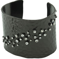 Hammered and Crystals Cuff