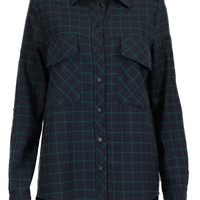 Prep Gal Long Sleeve Button Down Plaid Shirt - Navy/Green