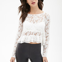 FOREVER 21 Boxy Lace Ruffle Top