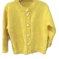 Girls Yellow Cardigan, Vintage Girls Cardigan Sweater Pearl Buttons Bright Yellow Sweater Jacket Vintage Kids Clothes Girls Vintage Cardigan