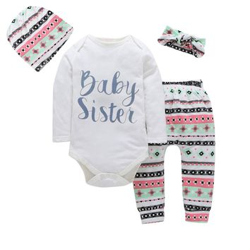 Baby Sister Baby Toddler Outfit Set One Piece Bodysuit Onesuit with Leggings Hat Headband 3-18 Months