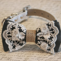 Black Dog Bow Tie, Lace and Burlap, Dog Lovers, Black wedding accessory