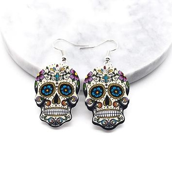 Skull Earrings Calavera Sugary-Sweet Whimsical Celebrate Mexican Day of the Dead Halloween Acrylic Sugar Skull Earrings for Women 4 Colors FREE SHIPPING
