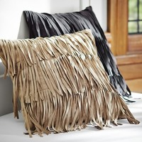 Fab Fringe Pillow Cover, 16x16, Black