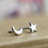 Wicary 925 Pure Sterling Silver Cute Star Moon Earrings for Lovers Gift