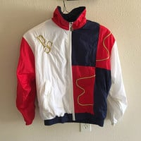 Red White Blue Windbreaker Vintage Oversized S