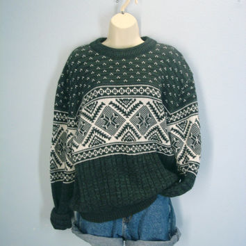Vintage Ski Sweater, Lodge Sweater, Green Christmas Sweater, 80s Slouchy Sweater, Mens Sweater