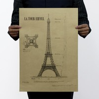 romantic Eiffel Tower Tour France Paris structure retro vintage home decals wall poster sticker painting mural living room store