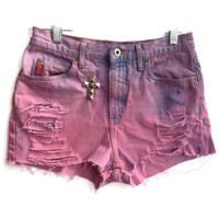 Dip Dyed High Waisted Shorts Studded Cross Denim Jean Shorts Hipster Size 6-7