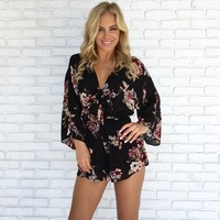 Flower Garden Romper in Black