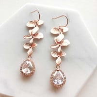 Rose Gold Earrings, Wedding Jewelry, Bridal, Mother, Bride Cubic Zirconia, Crystal, Long Orchid Earrings, Dangling, Bridesmaids Gift