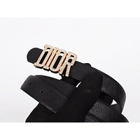Dior Tide brand women's diamond alphabet retro simple smooth buckle belt Black