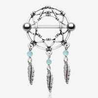 A Pair of Classic Dreamcatcher Feather Nipple Shield Ring