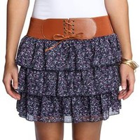 ditsy floral chiffon tiered skirt  - debshops.com