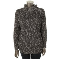 Lucky Brand Womens Plus Knit Marled Pullover Sweater