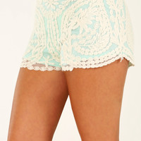 Lace Be Friends Shorts: Mint/Cream