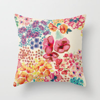 Flowers Throw Pillow by Moniquilla