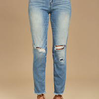 Glory Days Light Wash High-Waisted Distressed Jeans