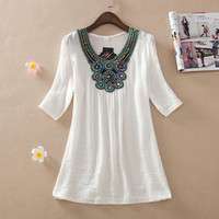 Boho Trendy Womens Summer Blouse with Embroidered Accent,   Plus Sizes M-3X