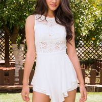 Bloom Crochet Romper - White