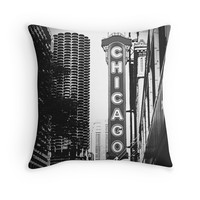 Chicago Theatre Sign in Black and White