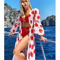 Summer Hot Sale Women Long Sleeve Sexy Polka Dot Dress Beach Style Long Dress Low Chest Dress