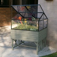 Elevated Raised Bed Garden Cold-frame Greenhouse Kit in Driftwood Finish
