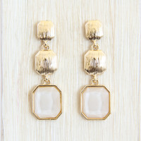 White and Gold Octagon Earrings - Earrings